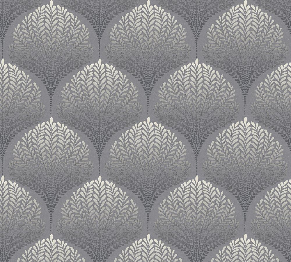 Vlies Tapete Retro Ornament Floral Blatter Grau Schwarz Weiss Palila