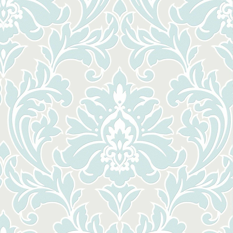 Vlies tapete barock muster ornament metallic effekt mint for Tapete muster