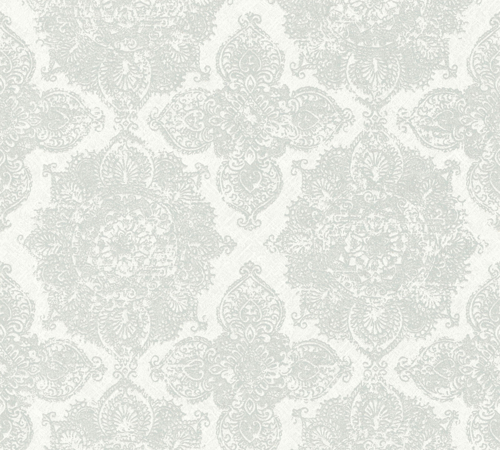 Boheme Ornament Vlies Tapete Grau Wei Silber Ethno Boho