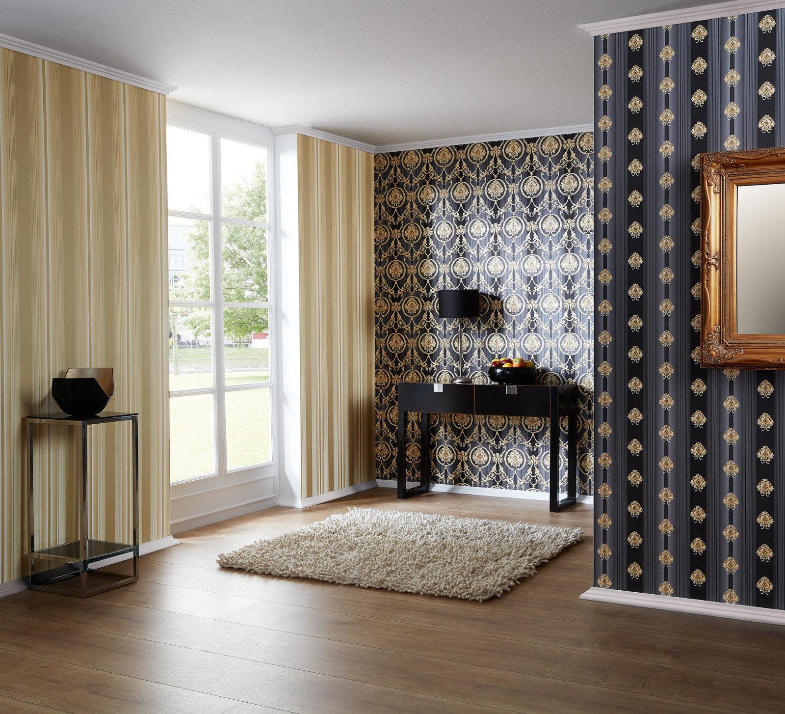 luxus vlies tapete barock muster ornament schwarz gold metallic 330836 streifen kaufen bei. Black Bedroom Furniture Sets. Home Design Ideas