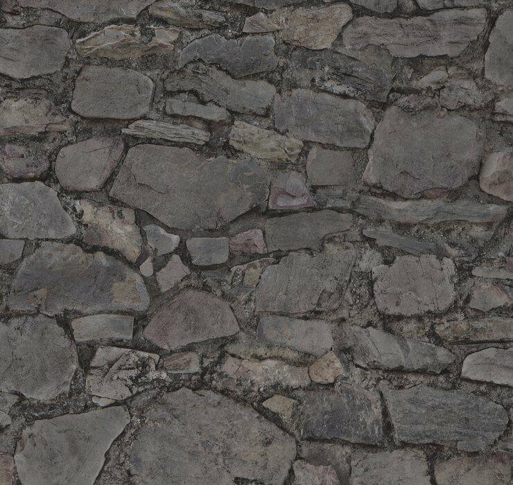 Vlies Tapete Bruchstein Mauer Naturstein Grau Anthrazit Stein Wand Loft  02518 30