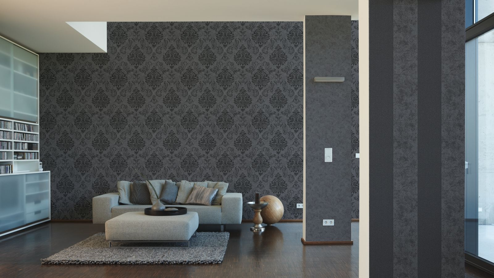 vlies tapete barock muster ornament anthrazit grau silber glitzer effekt kaufen bei joratrend e k. Black Bedroom Furniture Sets. Home Design Ideas