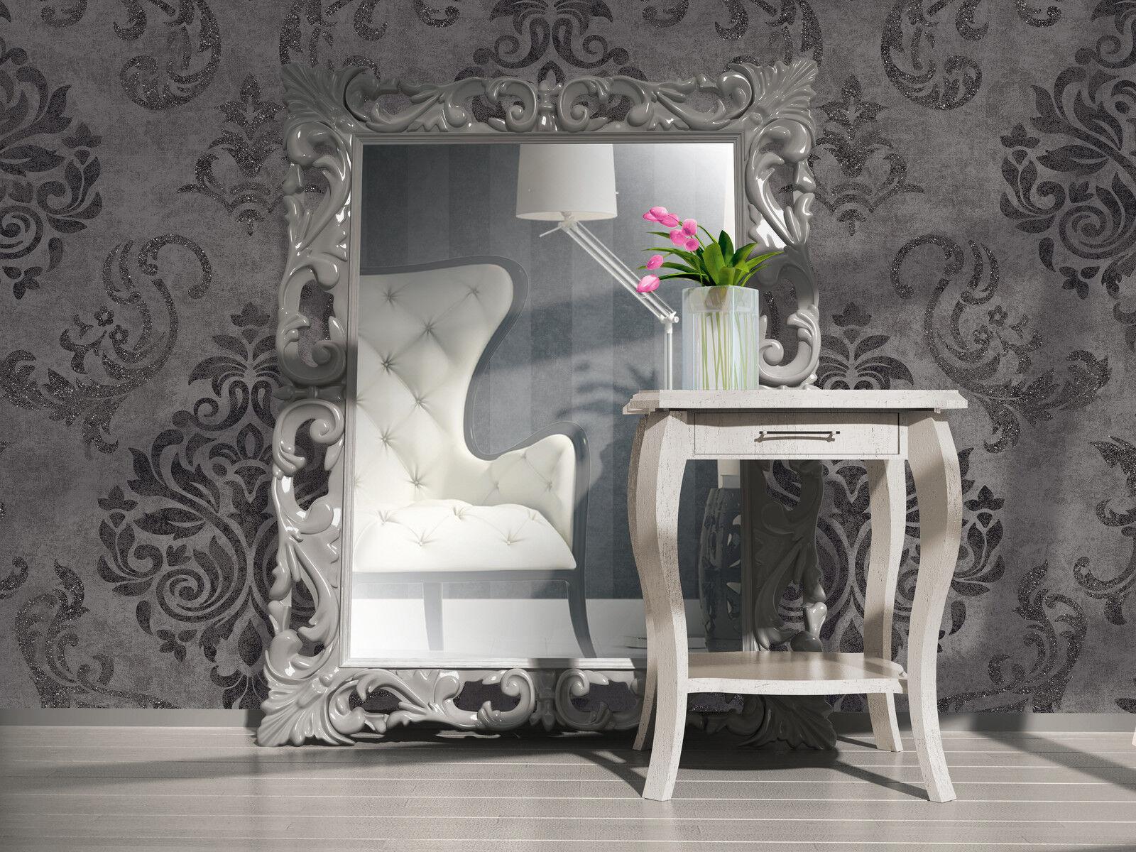 vlies tapete barock muster ornament anthrazit grau silber. Black Bedroom Furniture Sets. Home Design Ideas