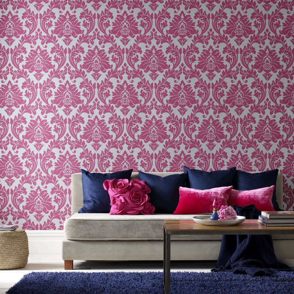 vlies tapete barock muster ornament metallic effekt pink. Black Bedroom Furniture Sets. Home Design Ideas