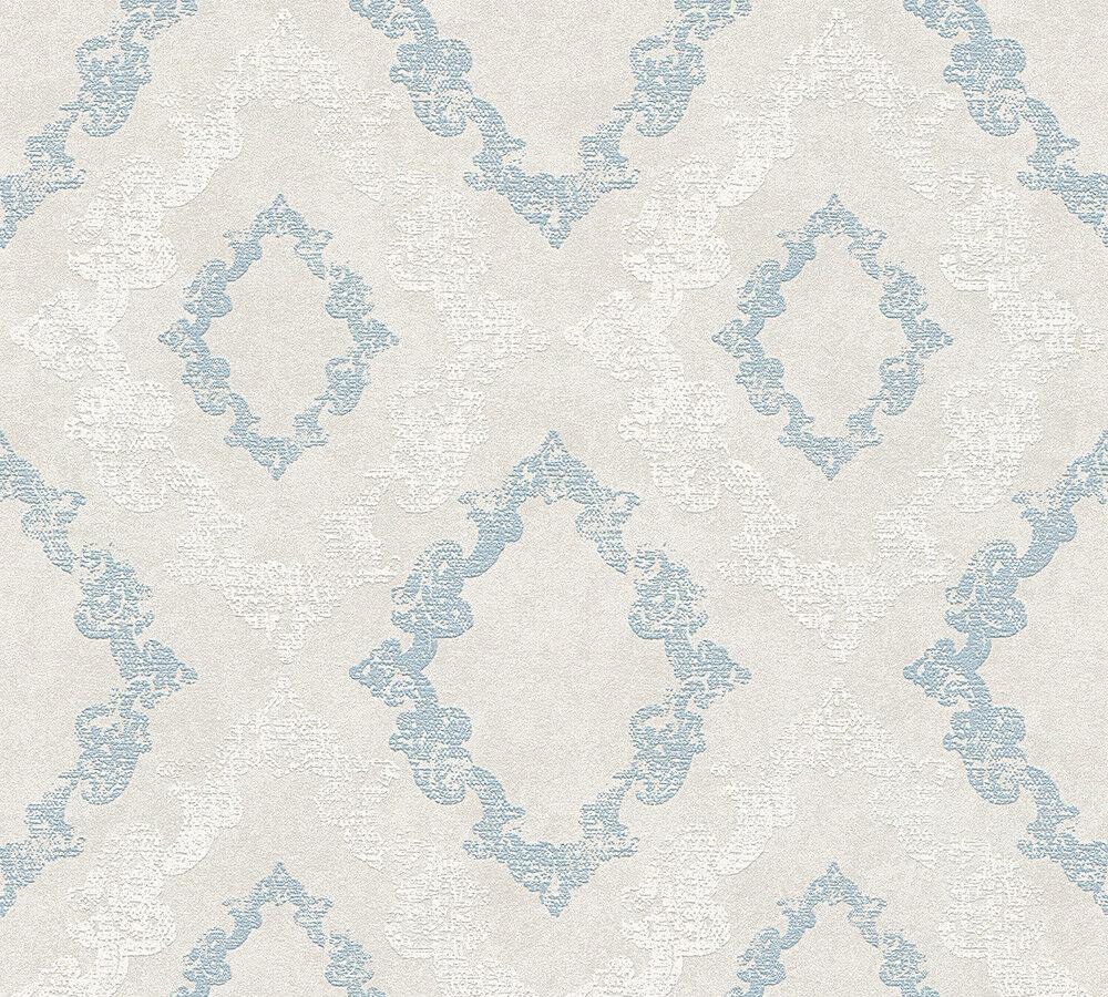 Vlies Tapete Barock Ornament Glitzer Pastell Grau Blau Weiss 32989 3
