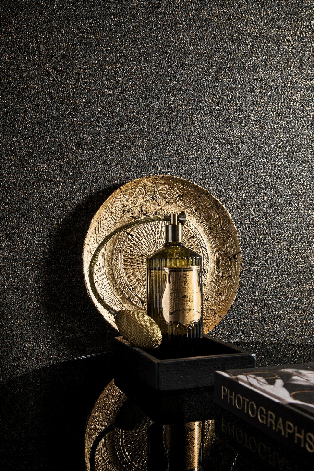 vlies tapete uni struktur dunkel braun schwarz gold loft kaufen bei joratrend e k. Black Bedroom Furniture Sets. Home Design Ideas