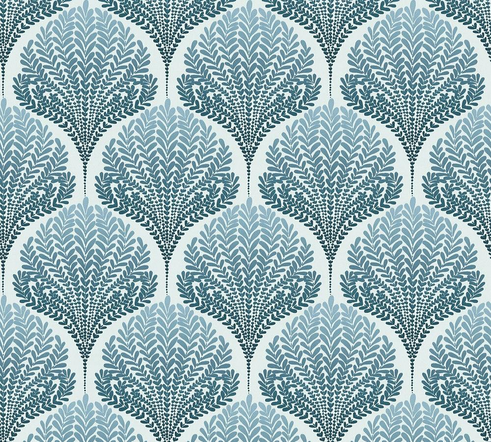 Vlies Tapete Retro Ornament Floral Blatter Blau Weiss Palila 363105