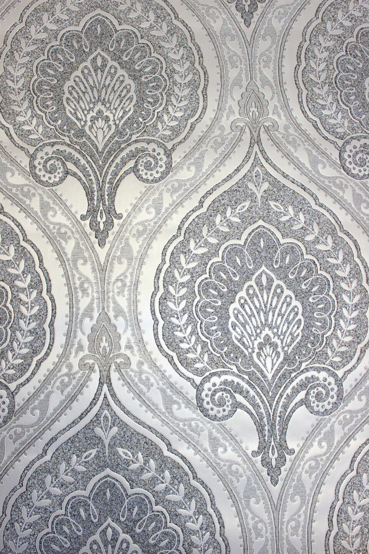 Vlies Tapete Klassisches Barock Ornament Grau Silber Gold Metallic