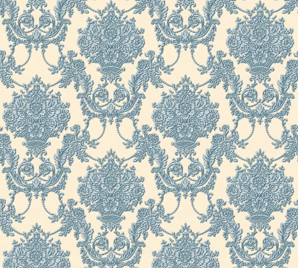Vlies tapete barock ornament beige blau glanz metallic for Tapete ornament blau