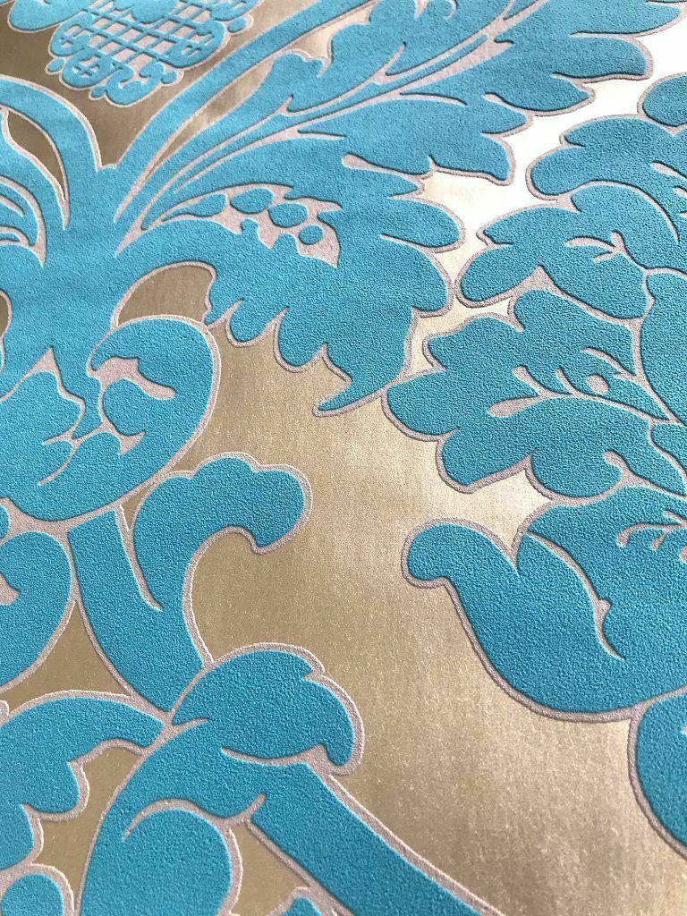 Vlies Tapete Barock Muster Ornament Metallic Effekt Turkis Gold Klassisch Kaufen Bei Joratrend E K