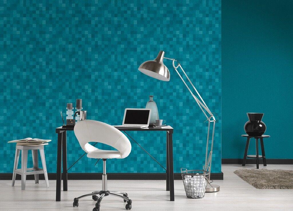 Vlies Tapete Kacheln Pixel Mosaik Wurfel Muster Turkis Blau