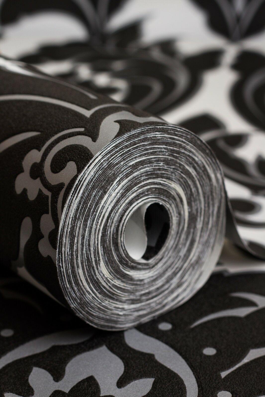 Vlies tapete barock muster ornament schwarz wei silber for Tapete barock
