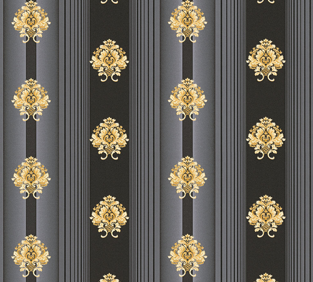 luxus vlies tapete streifen barock muster ornament schwarz gold metallic 330846 kaufen bei. Black Bedroom Furniture Sets. Home Design Ideas
