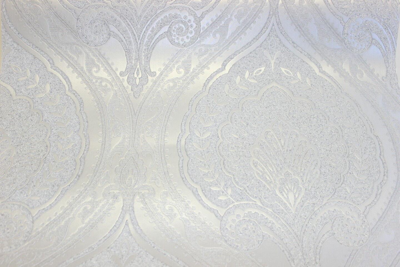 Vlies Tapete Klassisches Barock Ornament Weiss Silber Metallic Jc3009