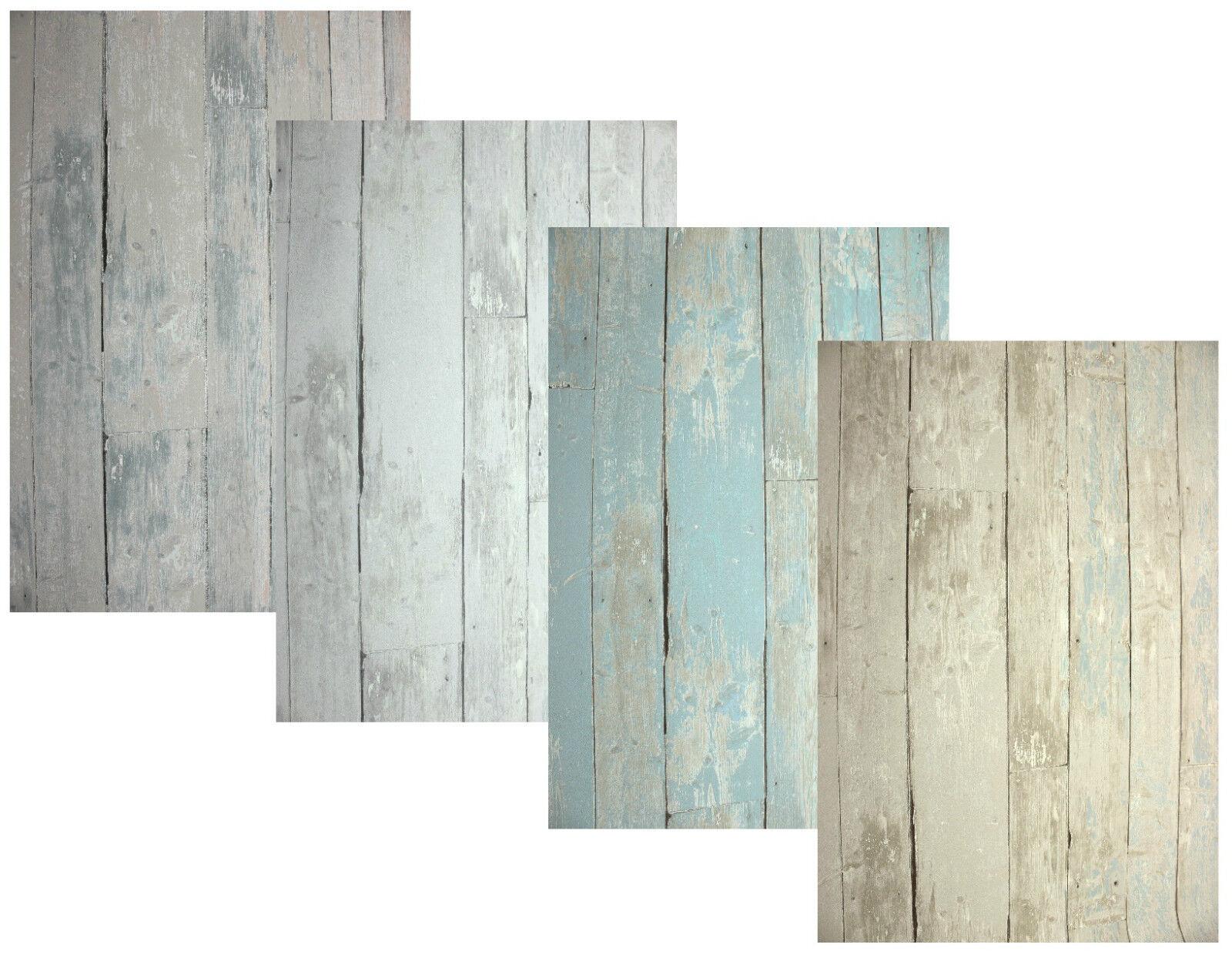 Vlies Tapete Antik Holz rustikal grau beige toop blau türkis bretter ...