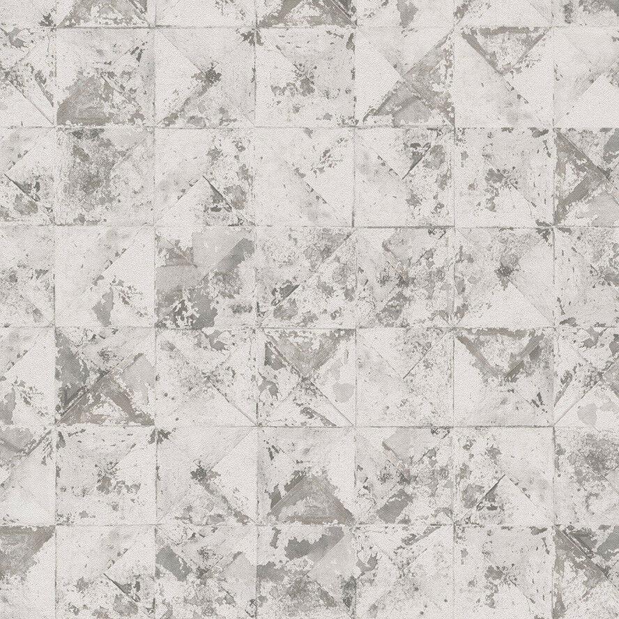 Vlies Tapete Beton Mosaik Fliesen Kacheln Weiß Grau Metallic Used - Mosaik fliesen metallic