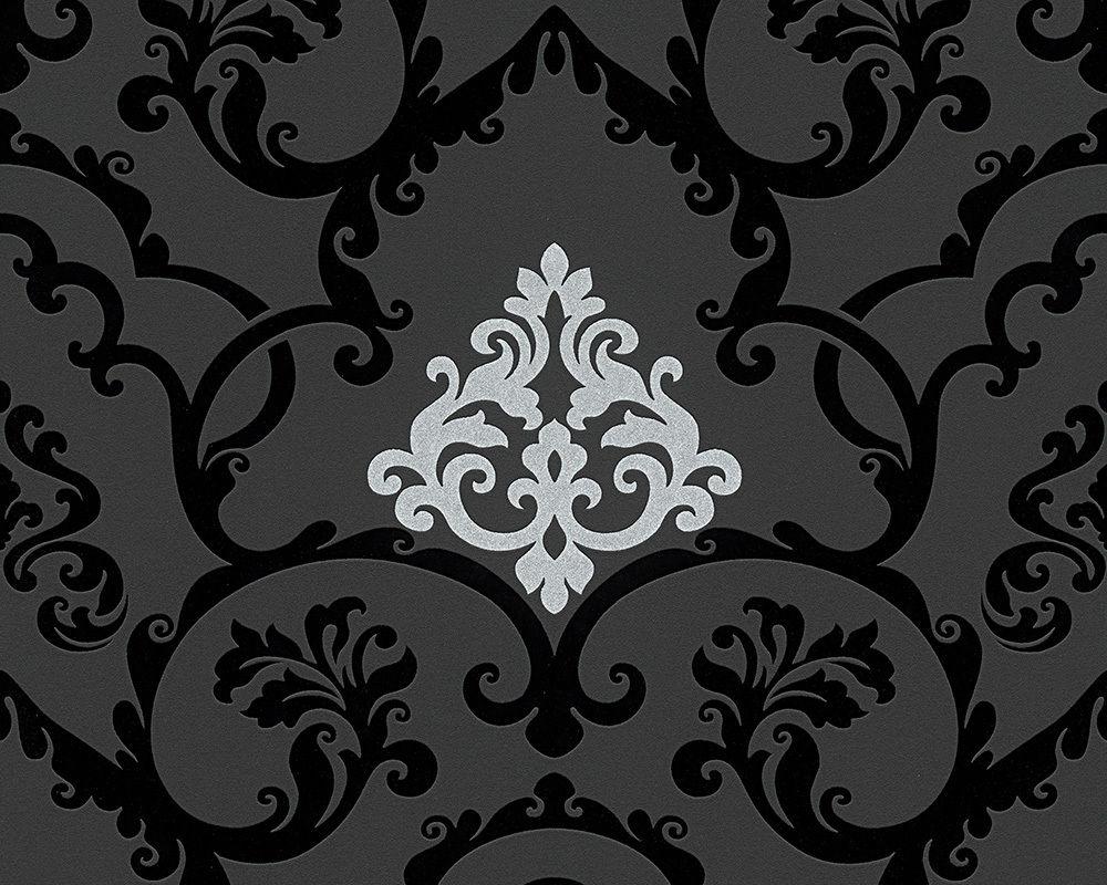 Vlies tapete barock muster ornament schwarz silber glanz for Tapete schwarz muster