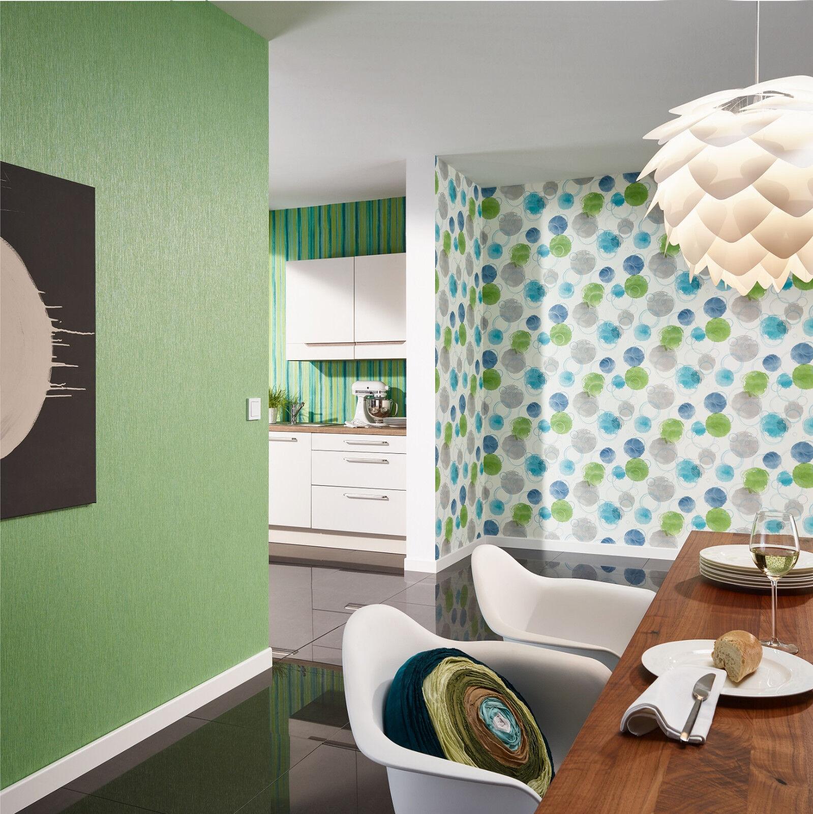 vlies tapete retro muster floral kreise punkte wei grau pink gr n blau t rkis kaufen bei. Black Bedroom Furniture Sets. Home Design Ideas