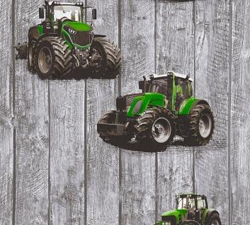 Kinder Vliestapete Traktor Trecker Holz Muster grau grün 35840-2 Jungen Tapete