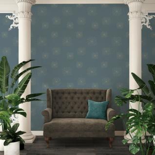 Vliestapete geometrische Blumen grün blau gold Trendwall 36784-1 / 367841