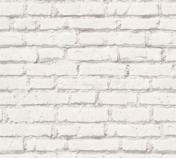 Vlies Tapete Stein Wand Ziegelstein Klinker Optik creme weiß grau 31943-1 Mauer