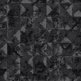 Vlies Tapete Beton Mosaik Fliesen Kacheln anthrazit silber schwarz metallic