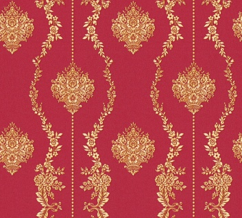 Vlies Tapete Barock Ornament Streifen Floral rot gold metallic 34493-2 Chateau 5