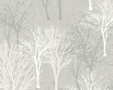 Vlies Tapete Baum Bäume Natur taupe grau glanz 36147-1 Elegance - 5th Avenue