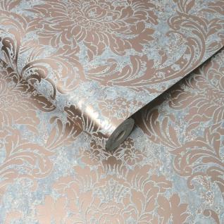 Barock Ornament Struktur Tapete rose gold metallic glänzend grau beige 106519