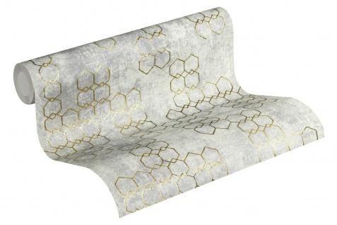 Vliestapete Beton Stein Optik grafische Muster grau silber gold metallic 37424-4