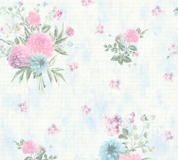 Vlies Tapete Blumen Karo Muster grafisch blau grün rosa 35873-2 Djooz 2