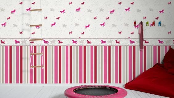 Esprit Kids 5 Streifen Vliestapete grau pink rot weiß 30288-2 - Vorschau 3