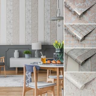 Struktur Tapete Barock / Ziegelstein / Streifen / Uni rose gold metallic grau