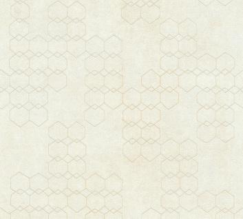 Vliestapete Beton Stein Optik grafisches Muster creme silber metallic 37424-1