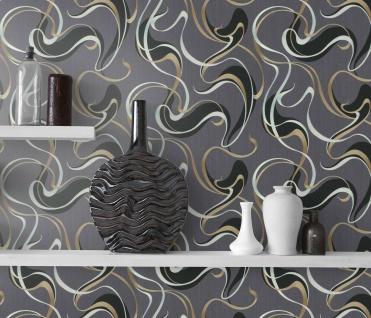 Vlies Tapete Design Wellen Optik metallic anthrazit schwarz silber gold 10105-15