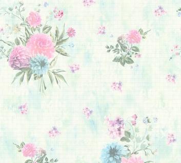Vlies Tapete Blumen Karo Muster grafisch rosa grün blau 35873-3 Djooz 2