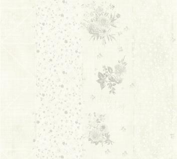 Vliestapete grafisch Streifen Blumen Schrift Karo Muster creme grau 35878-4