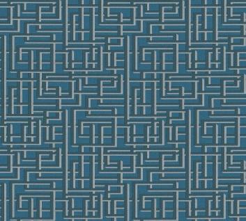 Labyrinth Muster Grafik Retro Vlies Tapete petrol blau grau Palila 363125