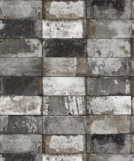 Vlies Tapete Stein Fliesen Riemchen Klinker grau silber metallic verwittert