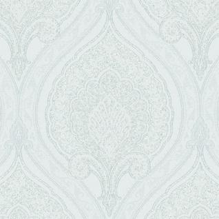 Vlies Tapete 48660 Barock Muster Ornament weiss grün silber metallic klassisch