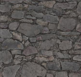 Vlies Tapete Bruchstein Mauer Naturstein grau anthrazit Stein Wand Loft 02518-30