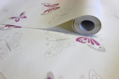 Vlies Tapete Schmetterlinge creme weiß lila pink flieder grau Girls - Vorschau 2