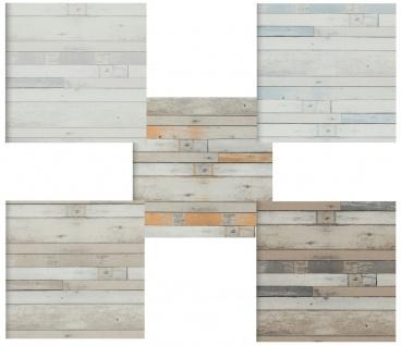 Vlies Tapete Antik Holz Muster vertäfelung bretter braun grau beige orange blau
