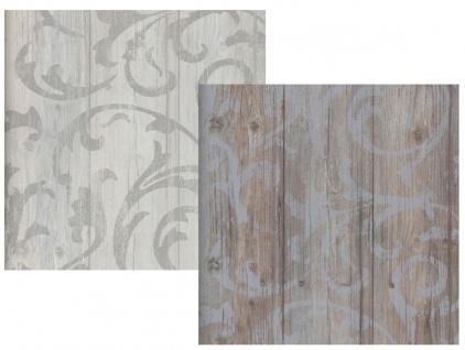 Vlies Tapete Antik Holz rustikal Ornament Muster Barock grau beige / braun grau