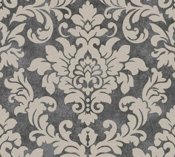 Barock Ornament Vlies Tapete schwarz beige Glitzer Trendwall 37270-4 / 372704
