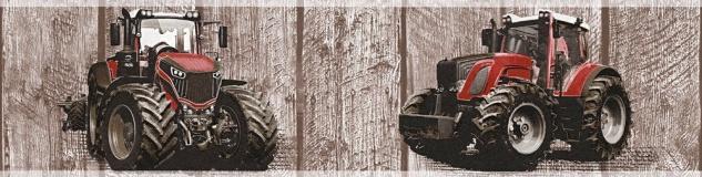 Kinder Tapeten Bordüre Holz Traktor Trecker braun rot 35843-2