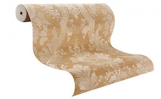 Hochwertige Vliestapete Barock Ornament Stickoptik beige gold glänzend 1007-5