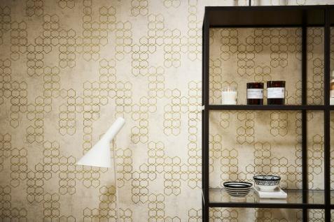 Vliestapete Beton Stein Optik grafisches Muster creme gold grau metallic 37424-2