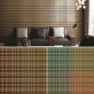 Vlies Tapete Karo Muster orange türkis braun gold metallic Textil Optik - Vorschau 1