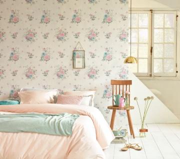 Vlies Tapete Blumen Karo Muster grafisch rosa grün creme 35873-5 Djooz 2 - Vorschau